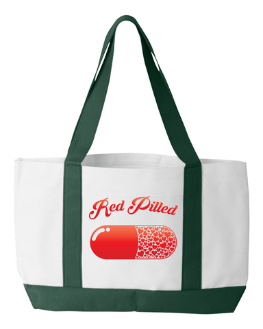 Image of PrintTech Tote Bag OS / White/Forest RED PILLED WITH LOVE | Tote Bag
