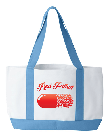 Image of PrintTech Tote Bag OS / White/Lt. Blue RED PILLED WITH LOVE | Tote Bag