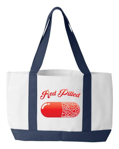 Image of PrintTech Tote Bag OS / White/Navy RED PILLED WITH LOVE | Tote Bag