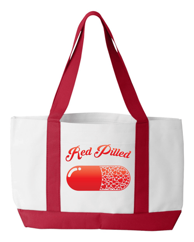 Image of PrintTech Tote Bag OS / White/Red RED PILLED WITH LOVE | Tote Bag