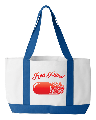 Image of PrintTech Tote Bag OS / White/Royal RED PILLED WITH LOVE | Tote Bag