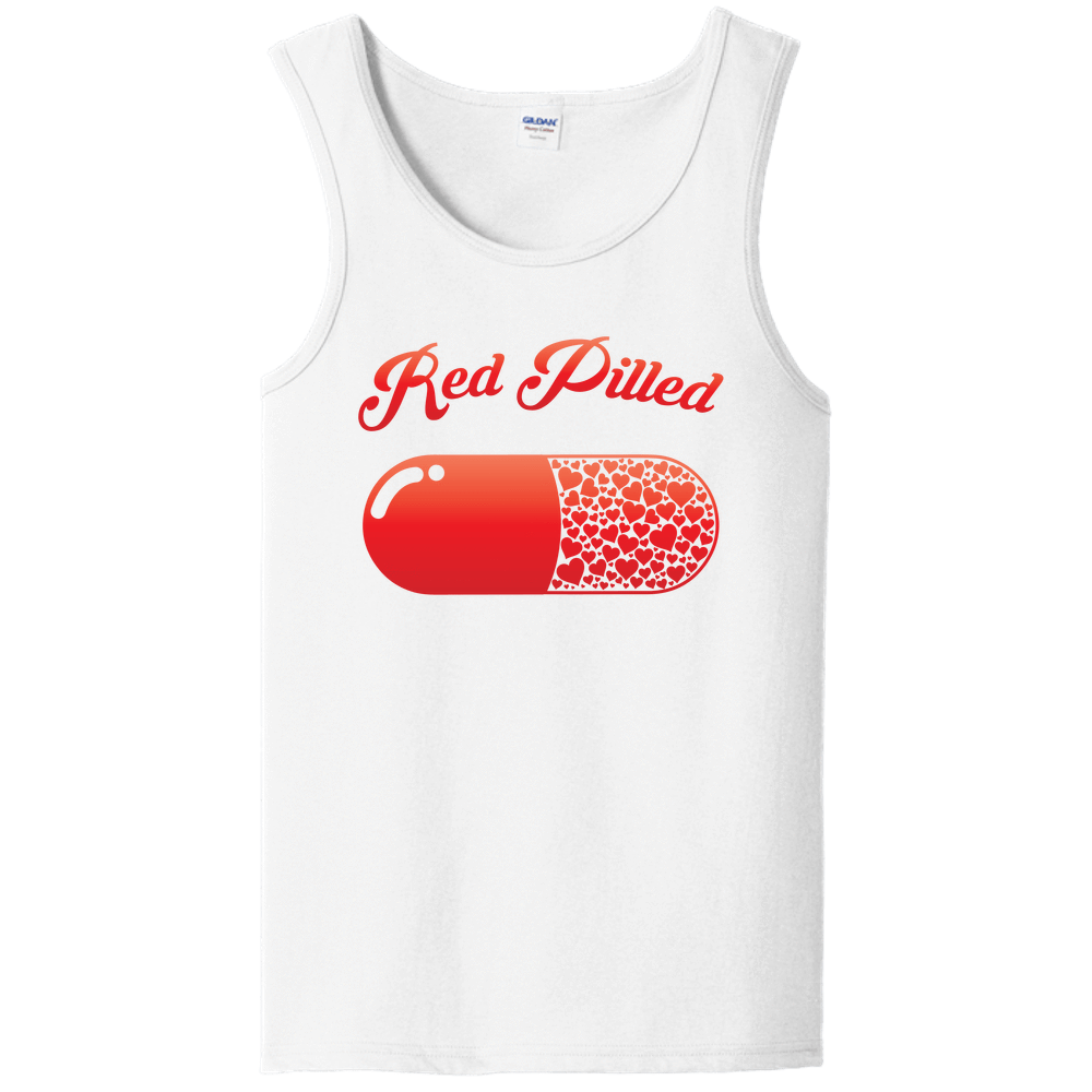 PrintTech Unisex Tank Top S / White RED PILLED WITH LOVE | Unisex Tank Top