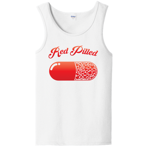 Image of PrintTech Unisex Tank Top S / White RED PILLED WITH LOVE | Unisex Tank Top