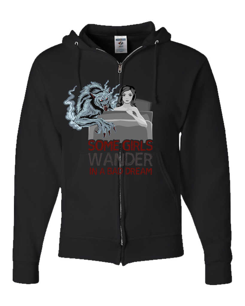 PrintTech Adult Zipper Hoodie S / Black SOME GIRLS WANDER IN A BAD DREAM  | Adult Zipper Hoodie