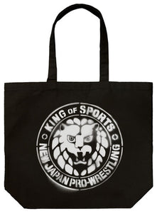 【New Japan Pro Wrestling】NJPW Stencil Lion Mark Large Totebag/Black 【COSPA】