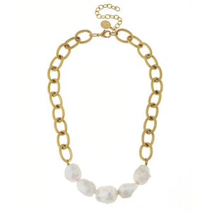 Gold Chain & Baroque Pearl Necklace
