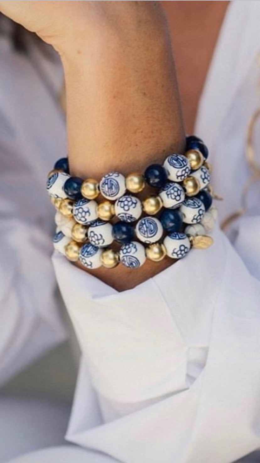 Blue and White Bracelets