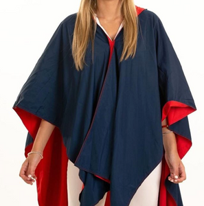 Navy and Red Poncho