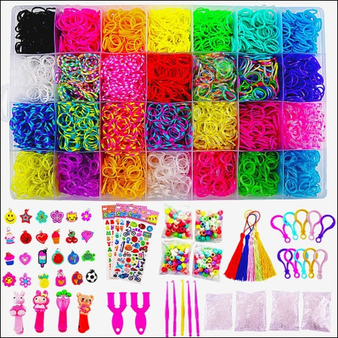 11680+ Rainbow Rubber Bands Mega Refill Bracelet Making Kit - Loom Bands Large Storage Container Over 10000 Premium Loom Bands In Different