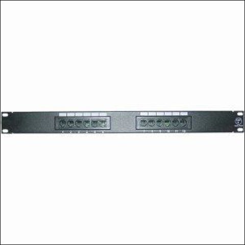 12PORT CAT6 CAT5 PATCH PANEL 1U RACKMOUNT 568B 110 PUNCHDOWN RJ45 - Black - 4XEM 0873791005543
