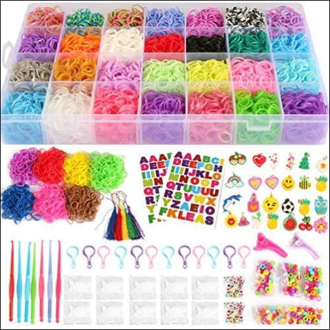 17 000+ Mega Refill Loom Set for Kids Bracelet Weaving DIY Crafting Kit with Rainbow Rubber Bands 24 Charms 175 Beads 600 Clips 12 Backpack
