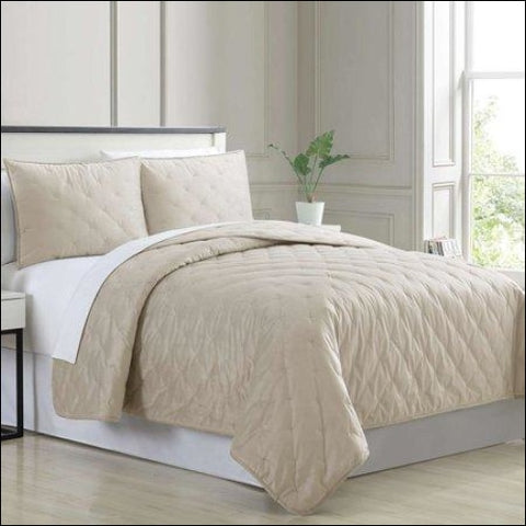 3 Piece Velvet Cross-Stitch Quilt Set - Queen Almond by Cottage Lane - Cottage Lane 645470224206
