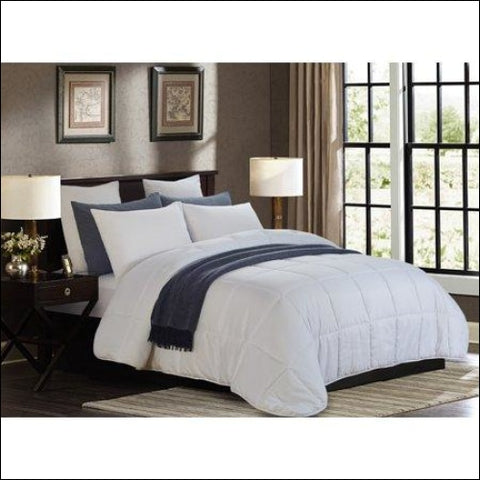 All Season White Quilted Goose Down Alternative Comforter - Oversized Full/Queen,Lorient Home,[product_size],[product_color]