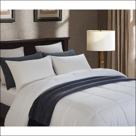 All Season White Quilted Goose Down Alternative Comforter - Oversized Full/Queen - Lorient Home 0811610035203
