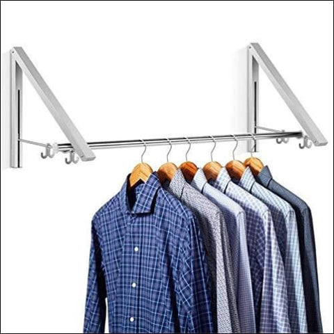 Aluminum Clothes Hanging System Wall Mounted Folding Clothes Hanger Retractable Easy Installation Home Storage Organizer (2) - SULOUS