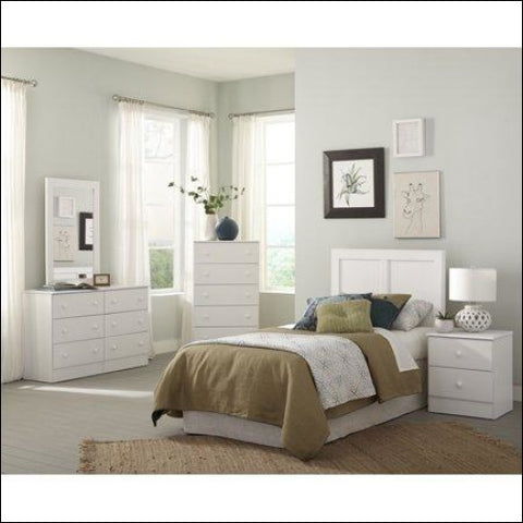 American Furniture Classics Classic White Collection 193K5T Five Piece White Bedroom set including Twin Headboard Five Drawer Chest Six