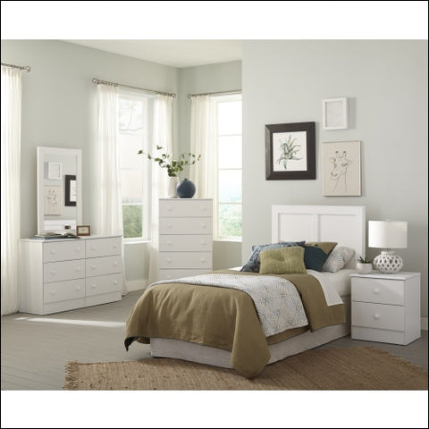 American Furniture Classics Classic White Collection 193K6T Six Piece White Bedroom set including Twin Headboard Five Drawer Chest Six