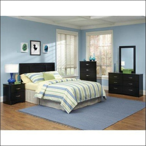 American Furniture Classics Jacob Collection 115K6Q Six Piece Black Bedroom set including Queen/Full Headboard Five Drawer Chest Six Drawer