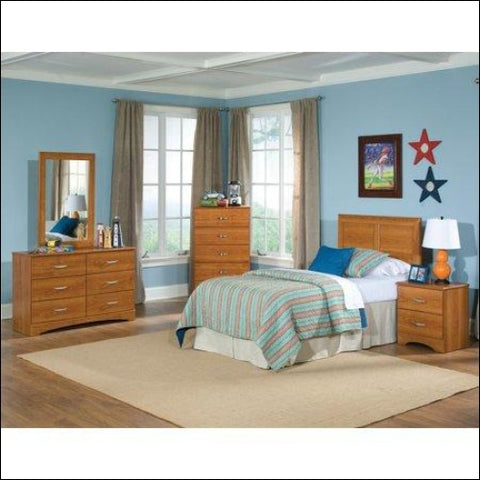 American Furniture Classics Tanner Collection 110K5T Five Piece Bedroom set with metal Pulls including Twin Headboard Five Drawer Chest Six