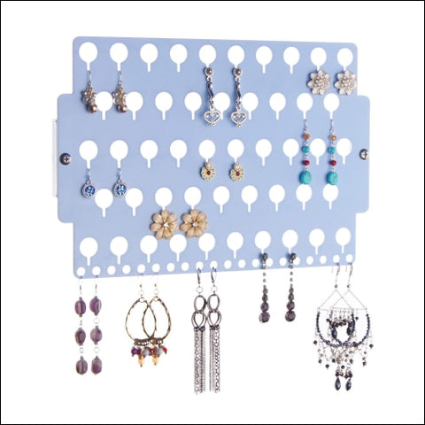 Angelynns Stud Earring Holder Organizer Display Wall Mount Hanging Closet Jewelry Storage Rack for Girls Blue - Angelynns 0019962181832