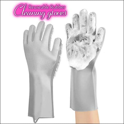 ANZOEE Reusable Silicone Dishwashing Gloves Pair of Rubber Scrubbing Gloves for Dishes Wash Cleaning Gloves with Sponge Scrubbers for