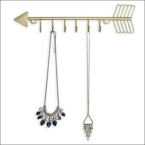 Arrow Design Wall Mounted Brass-Tone Metal 6 Hook Necklace Organizer Hanging Rack - MyGift
