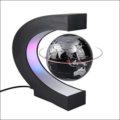 Aukee 3 inch C Shape Magnetic Levitation Floating Globe Maglev Globes World Map with LED Light for Teaching Home Office Desk Decoration