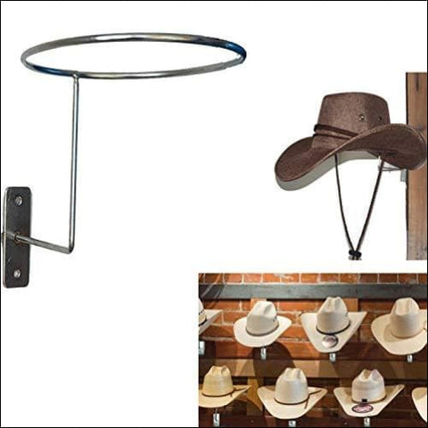 AUXPhome Wall-Mounted Silver Metal Hat & Wig Display Racks/Cowboy Hat Rack Cowboy Hat Holder Coyboy Hat Organizer/Cowgirl Straw Hat Cap