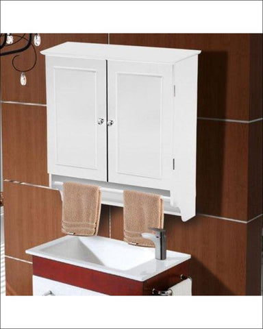 Bathroom Kitchen Cabinet Wall Mount Cupboard Storage Organizer Shelf w/Towel Bar - SmileMart 846253025779