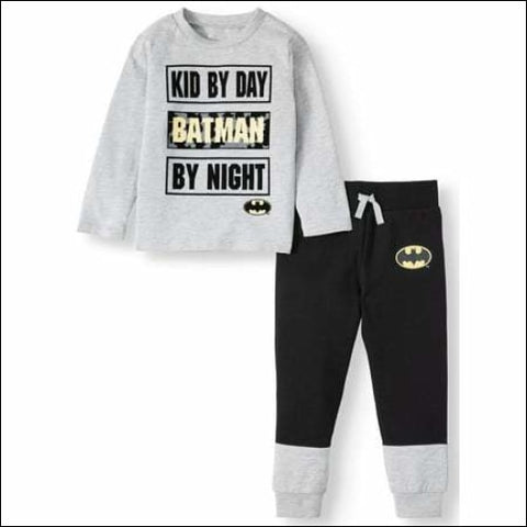 Batman Toddler Boy Long Sleeve Graphic T-shirt & Drawstring Fleece Jogger Pant, 2pc Outfit Sets,Batman,[product_size],[product_color]