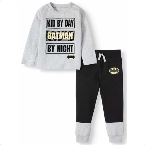 Batman Toddler Boy Long Sleeve Graphic T-shirt & Drawstring Fleece Jogger Pant 2pc Outfit Sets - Batman 0193058046226