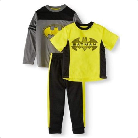 Batman Toddler Boy Short Sleeve Graphic T-shirt Colorblock Long Sleeve T-shirt & Taped Jogger Pant 3 piece Outfit Set - Batman 0889560497983