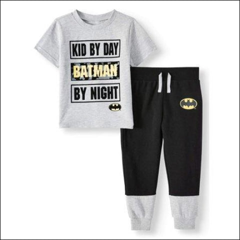 Batman Toddler Boys Short Sleeve Graphic T-shirt & Drawstring Fleece Jogger Pant 2pc Outfit Sets - Batman 0193058046639
