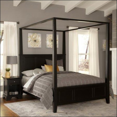 Bedford Black King Canopy Bed and Night Stand - Homestyles 0095385848071