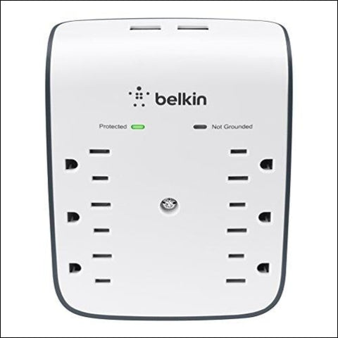 Belkin 6-Outlet USB Surge Protector w/Wall Mount - Ideal for Mobile Devices Personal Electronics Small Appliances and More (900 Joules) -