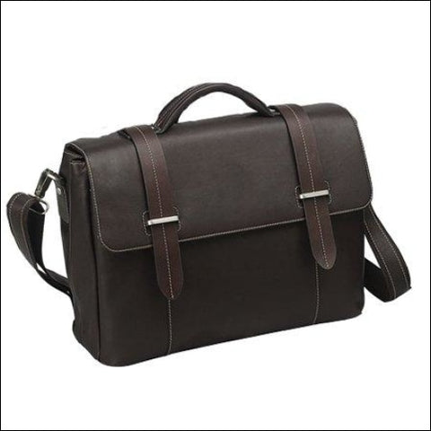BLACK FLAP-OVER LEATHER COMPUTER BRIEFCASE - Travelwell 0044759611735