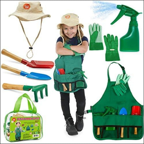 Born Toys Kids Gardening Set Kids Gardening Tools with rake Kids Gardening Gloves and Washable Apron Set for Real or Sand Gardening and