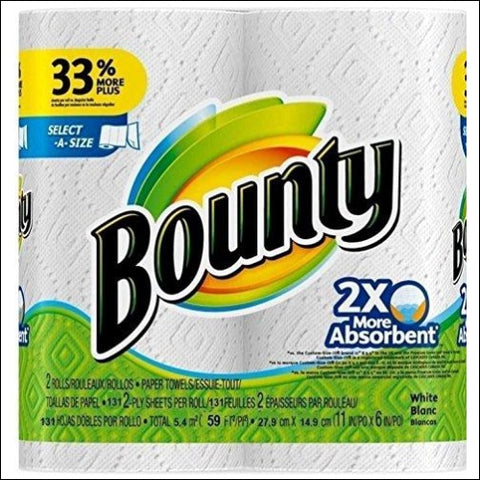 Bounty Select-a-Size 2 x More Absorbent Paper Towels 11 x 5.9-Inches 96-PLY SHEETS White (PACK OF 2) - Bounty