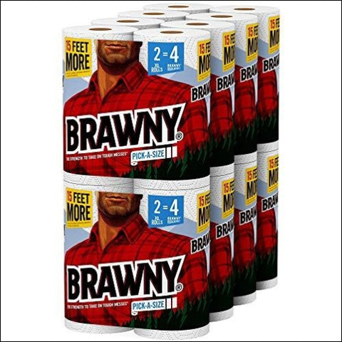Brawny Paper Towels 16 XL Rolls Pick-a-Size 16 = 32 Regular Rolls White - Brawny 42000441438