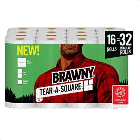 Brawny Tear-A-Square Paper Towels Quarter Size Sheets 16 Count - Brawny 42000442138