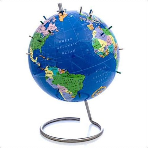Bullseye Office - New Version with Lacquer Finish Magnetic World Globe 10 Blue Magnetic Standing World Globe with Magnetic Pins - Perfect as