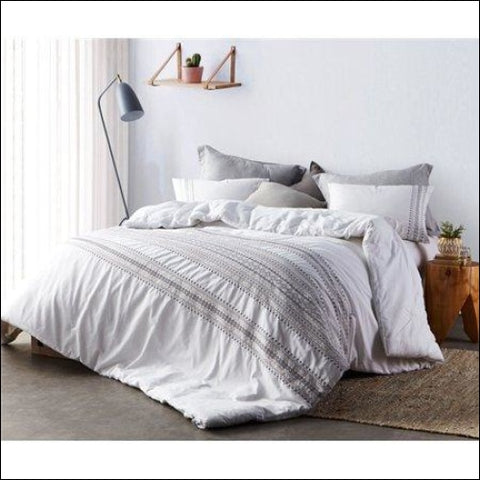 BYB Cambria Stitch Embroidered Comforter - White - Byourbed 0843249161299
