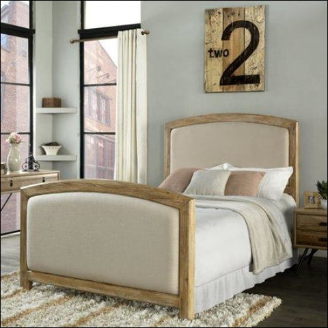 CAMBRIA QUEEN HEADBOARD AND FOOTBOARD IN WEATHERED PINE AND CRME LINEN -Crme -Queen - Crosley Furniture 0710244218566