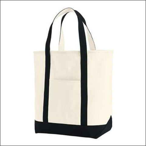 Canvas Heavy Tote - Ivory/ Black / One Size - Comfort Colors 884074049804