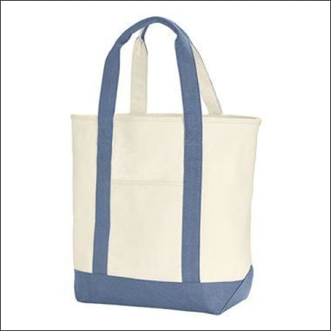 Canvas Heavy Tote - Ivory/ Blue Jean / One Size - Comfort Colors 00884074049802