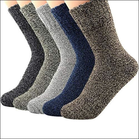 Century Star Womens Vintage Winter Soft Wool Warm Comfort Cozy Crew Socks 5 Pack 5 Pairs Solid Color - Century Star