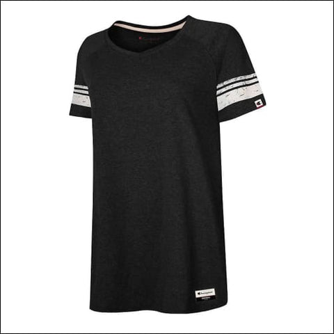 Champion Authentic Originals Womens Triblend Short Sleeve Varsity T-shirt - Black w/Natural Stripe / S - Champion 0617914240516
