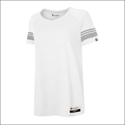 Champion Authentic Originals Womens Triblend Short Sleeve Varsity T-shirt - White / S - Champion 0617914240578