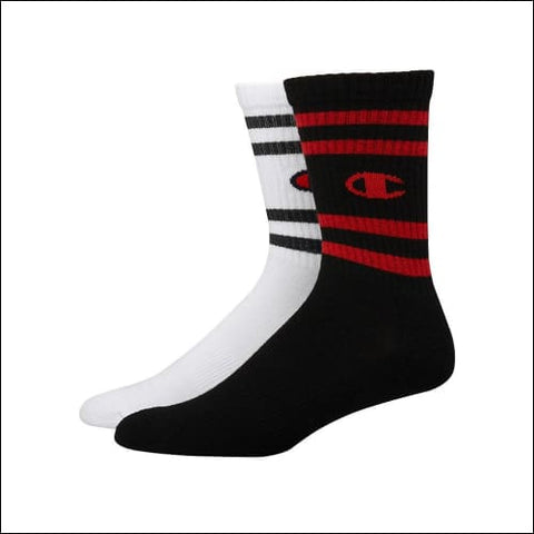 Champion Mens Performance Crew Socks C Logo 2-Pack - White/Black Assorted / 43751 - Champion 038257132021