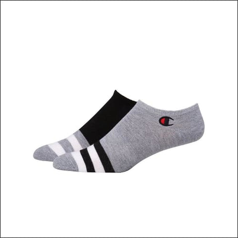 Champion Mens Performance Super No-Show Socks 2-Pack - Black/Grey/White Assorted / 43751 - Champion 038257131956